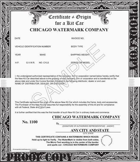 template for certificate of origin for a vehicle sle of