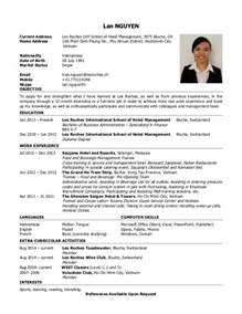 Curriculum Vitae Sles For Hotel Management Curriculum Vitae Of Lan Nguyen