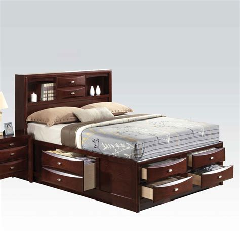 queen bed drawers ireland black espresso queen bed multi drawers storage