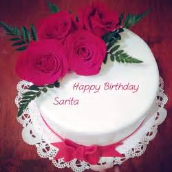 red rose with birthday wishes sarita name cakes pictures