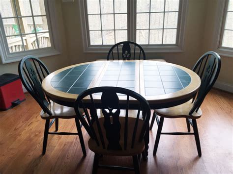Tiled Kitchen Table Furniture Oblong Green Tile Top Kitchen Table With 4 Chairs Ebay