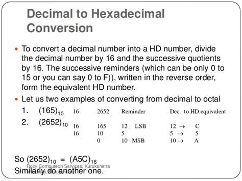 converter hexadecimal to decimal number system