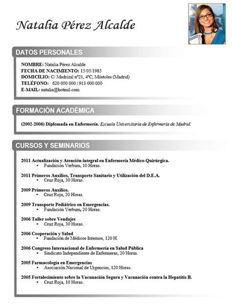 Modelo Curriculum Vitae De Enfermeria Cv M 233 Dico Enfermera 66 Cvexpres