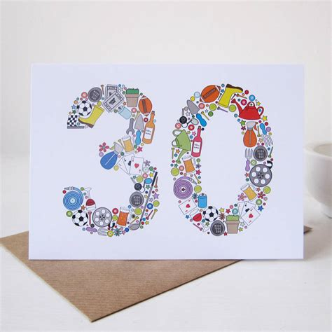 30 Gift Card - mens things 30th birthday card by mrs l cards notonthehighstreet com