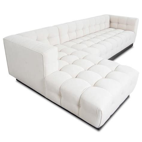 white linen sectional modern tufted sectional w chaise modshop modshop