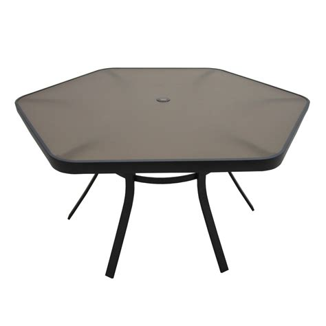 Patio Dining Tables Only Shop Garden Treasures Hayden Island 56 In W X 50 In L Hexagon Steel Dining Table At Lowes