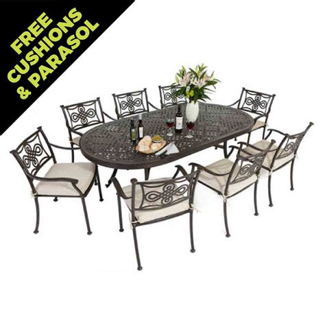Oval Dining Tables For 8 Cast Aluminium 213 X106cm Large Oval Table With 8 Knot Chairs Autumn Rust With Seat Pads