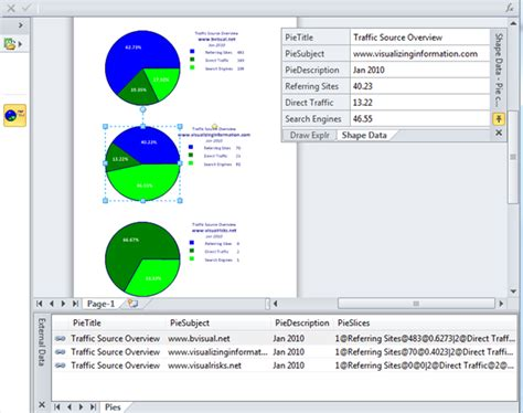 visio pie chart arrays in shapes bvisual