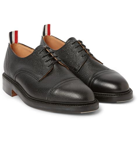 thom shoes lyst thom browne pebbled leather derby shoes in black