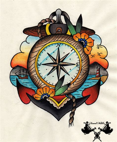 tattoo old school vintage old school tattoos design with flash compass and anchor