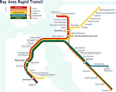 sf bart map bart system san francisco map