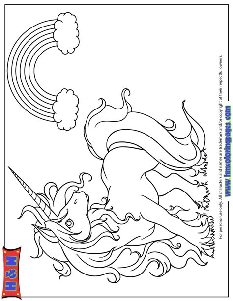unicorn with rainbow coloring page cute cartoon unicorn looking at rainbow coloring page h