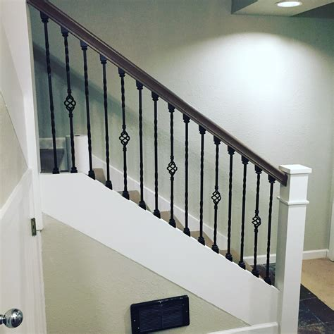 metal banister rail wrought iron stair balusters with double twist and single
