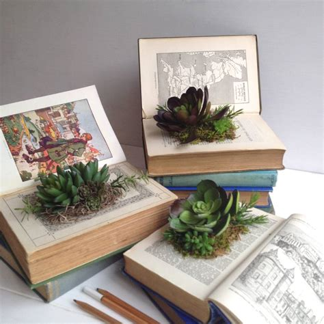 Book Planter by Artificial Succulents In Vintage Book Planter By Beaux