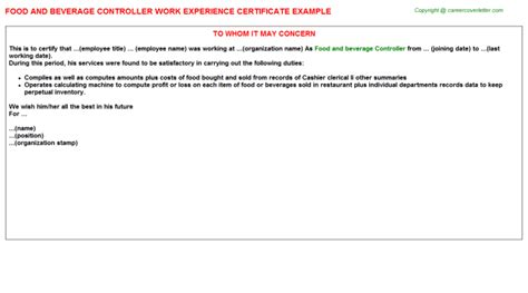Food And Beverage Controller Cover Letter by Hotel Controller Palace Macau China Work Experience Certificates