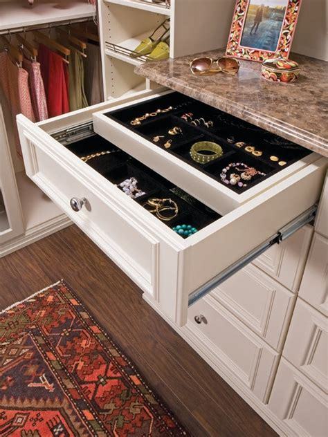 How To Store Jewelry In A Drawer by Custom Designed Walk In Closet In Almondine Melamine