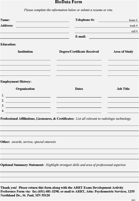Biodata Format Resume Free by Free Biodata Format For Resume Template