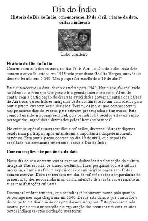 Índios do Brasil- Atividades variadas (19 de abril)
