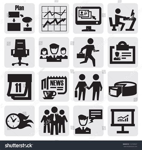 Office And Business Vector Icons Set On Gray Royalty Free Stock Images Image 33973149 Vector Black Business Icon Set On Gray 112720927
