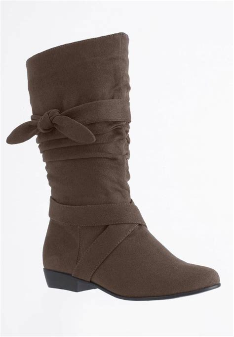 comfortview boots plus size wide calf scrunch boot by comfortview
