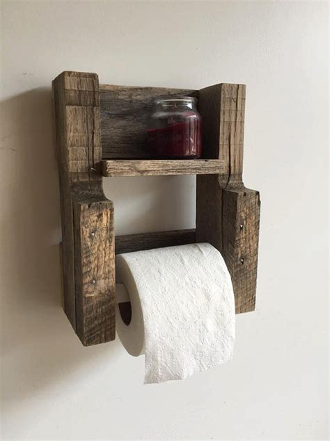 rustic reclaimed wood toilet paper holder gravity