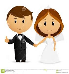 Cute cartoon wedding couple royalty free stock photography image