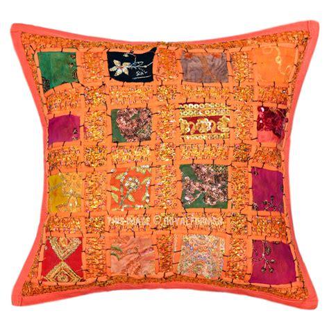 Sari Patchwork - orange accent sari patchwork cushion cover 16x16 india