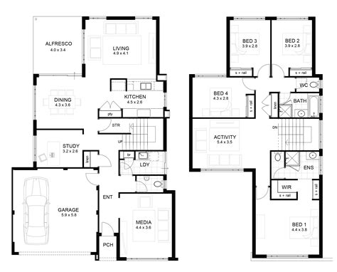 double storey floor plans double storey 4 bedroom house designs perth apg homes