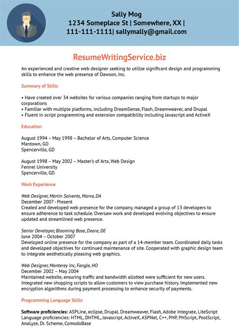 Resume Template Website by Web Designer Resume Sle Resume Writing Service