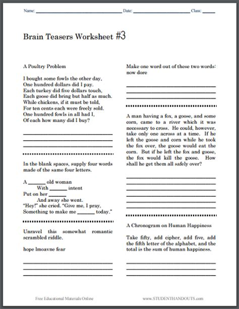 Brain Teaser Answers Worksheets by Brain Teasers Worksheet 3 Student Handouts