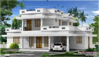 flat house design 3 bed room flat roof villa with courtyard 2172 sq ft home kerala plans