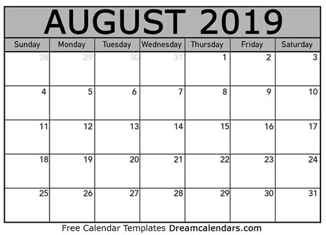 dream calendars   calendar template blog blank printable august  calendar