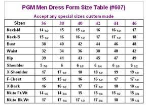 Table Linen Chart - mature men dress form with hip industry pro 607 pgmdressform com