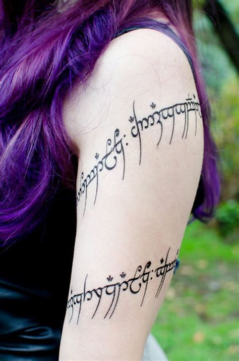 tattoo letters lord of the rings elvish script quot one ring to rule them all quot large temporary