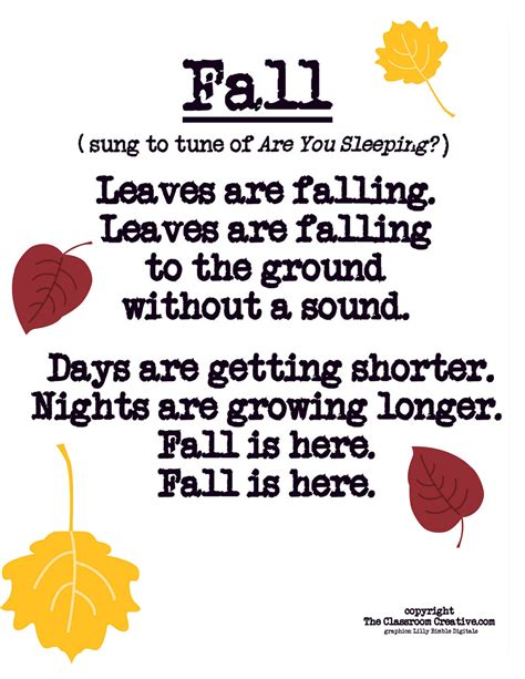 song poem fall leaves craft ideas activities