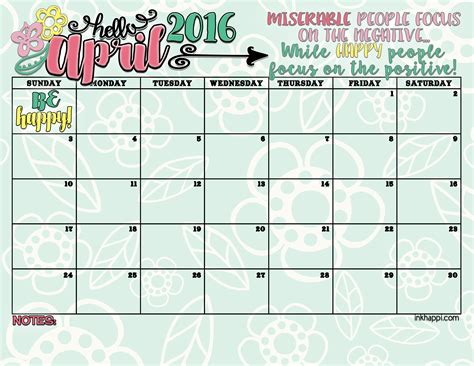 April 2016 Calendar Printable April 2016 Calendar Free Printables Inkhappi
