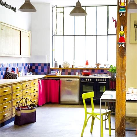 kitchen festive and bright color kitchen design ideas