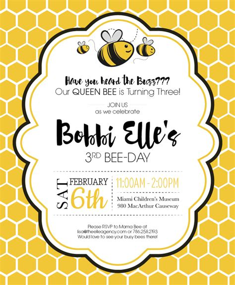 Bumble Bee Birthday Party Invite Kid Parties Pinterest Bumble Bee Birthday Bumble Bees Bumble Bee Invitation Template Free