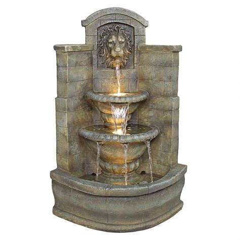 Lighted Outdoor Fountains Majestic Waterfall Into Urns Lighted Water Feature Garden Corner Ebay
