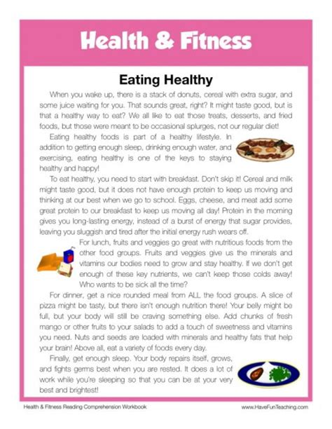 reading comprehension test about food reading comprehension worksheet eating healthy