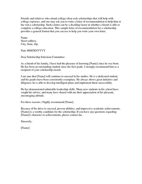Printable Letter Of Recommendation For Scholarship Sle Letter Of Recommendation For College From Family Friend Cover Letter Templates