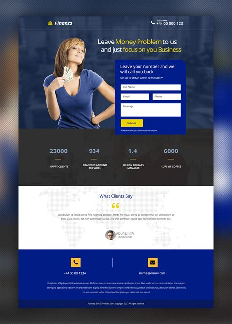 template landing page gratis finance and banking landing page free psd template free