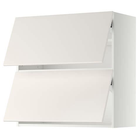 Ikea Horizontal Kitchen Cabinets Metod Wall Cabinet Horizontal W 2 Doors White Veddinge White 80x80 Cm Ikea