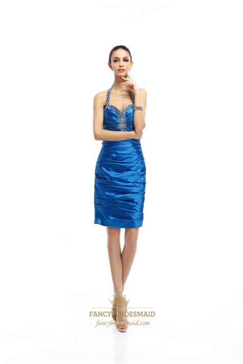 blue beaded dress sapphire blue beaded halter dress with sequin and