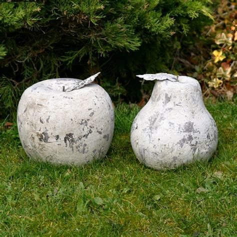 backyard ornaments large stone pear statue fruit garden ornament