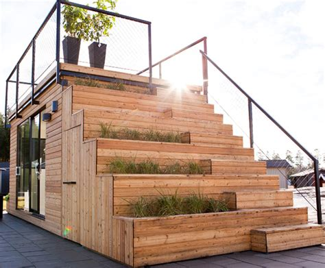 How To Build A Deck Nz by Steps Ultra Compact Vacation Cabin Features Rooftop Terrace