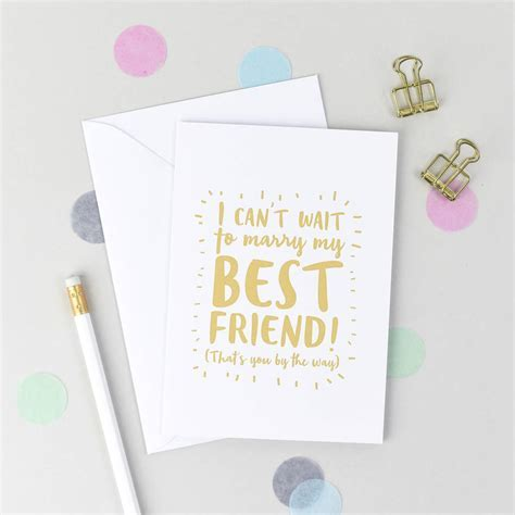 'i can't wait to marry my best friend!' wedding card by