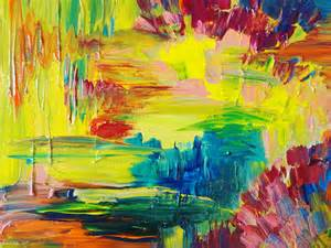 sale abstract acrylic painting bright bold color 16 x 20