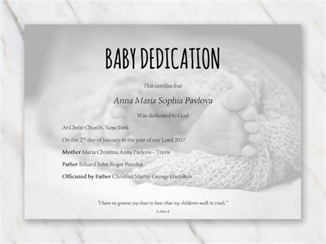 baby certificate template baby dedication certificate template for word free printable