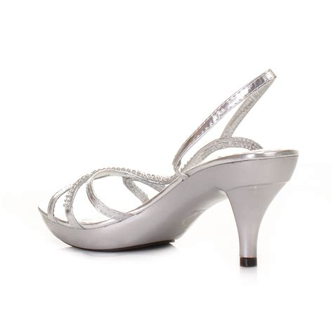 strappy shoes womens low heel silver slingback prom
